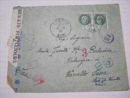 F3 FRANCE FRANCIA - 1943 PONCIN AIN 2 X 2 FRANCHI VERIFICATO CENSURA X ITALY VARALLO SESIA 7 TIMBRI NUMERI CONTROLLO - Storia Postale