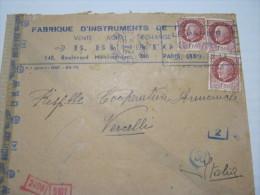 F3 FRANCE FRANCIA - 1944 PARIS VERIFICATO CENSURA X ITALY VERCELLI COOP FISARMONICHE MUSICA MUSIC - Storia Postale