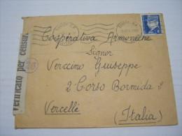 F3 FRANCE FRANCIA - 1942 ANNECY VERIFICATO CENSURA X ITALY VERCELLI COOP FISARMONICHE MUSICA MUSIC 4F. - Storia Postale