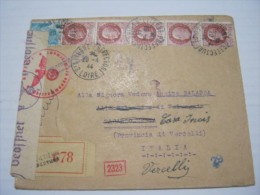 F3 FRANCE FRANCIA - 1944 ST. ETIENNE VERIFICATO CENSURA X ITALY VERCELLI REGISTERED PREFECTURE RACCOMANDATA - Storia Postale