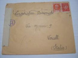 F3 FRANCE FRANCIA - 1942 ANNECY VERIFICATO CENSURA X ITALY VERCELLI TARGHETTA  ANNIVERSAIRE DE LA LEGION - Storia Postale