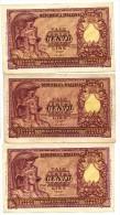 Tre Biglietti Di Stato 100 LIRE ITALIA ELMATA Del 1951 BOLAFFI CAVALLARO GIOVINCO  VF-EF - [ 2] 1946-… : Repubblica