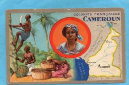 """CAMEROUN -Carte Image Publicité """"Lion Noir"""" Belle Illustration -Ceuillette Archides -carte Géo+portrait De Fem-années 20 - Madagascar"""