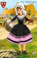 En Périgord - Costume Traditionnel - Carte Brodée Avec Tissu - Illustration J. Corréas - Costumes
