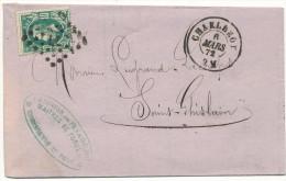 1872 FIRMABRIEF MET PZ30 VAN CHARLEROI(2RING+ PUNTST 77) NAAR St GHISLAIN(2RING) ZIE SCAN(S) - 1869-1883 Léopold II