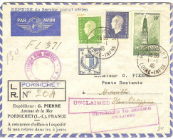 1°  Liaison Reprise Serice Aéien Postal Paris-Manille /01/46 - First Flight Covers