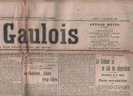 LE GAULOIS 10 11 1906 - STE THERESE AVILA - SEPARATION EGLISES ET ETAT - VOLS MUSEE DU LOUVRE - EVEQUE LA ROCHELLE - Newspapers