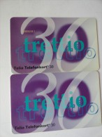 RARE : TELIA TELEFONKORT 30  WITH NUMBER & WITHOUT NUMBER - Altri – Europa