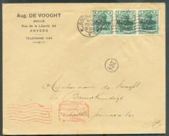OC N°12(3) - 5 Cent. S/5 Pfg (bande De 3) Obl. Mécanique D'ANTWERPEN 1 Sur Lettre Vers La Ville +  Censure Mécanique D'A - Weltkrieg 1914-18