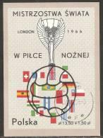 Poland 1966 Mi# Block 38 Used - World Cup Soccer Championship, Wembley, England - Gebruikt