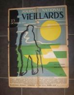 @ AFFICHE JOURNEE NATIONALE DES VIEILLARDS 25/10 1953, SOUS PATRONAGE MME VINCENT AURIOL, ILLUSTRATEUR METRAC ? METRAG ? - Affiches