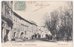 CPA - Dpt 30   Pont St Esprit  Boulevard Gambetta Voitures, Personnages - Pont-Saint-Esprit
