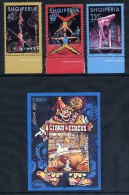 ALBANIA 2002 Europa: Circus Set Of 3 + Block  MNH / **.  Michel 2866-68, Block 138 - Albania