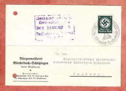 Karte, EF Hakenkreuz, Buergermeisterei Guendelbach-Schuetzingen, SoSt Muehlacker Senderstadt, Nach Enzberg 1937 (61381) - Covers & Documents