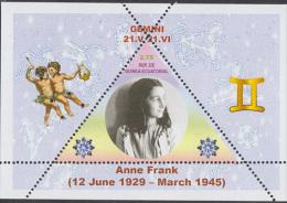 Fantasy Label Famous People  Anne Frank Zodiac NEW 2 Blocks - Femmes Célèbres