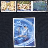 ALBANIA 2001 Europa: Water Resources Set Of 3 + Block  MNH / **.  Michel 2809-11, Block 130 - Albania