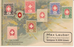 Telegraph Stamps Of Switzerland, Bern Stamp Dealer Advertisement, On C1900s Vintage Postcard - Stamps (pictures)