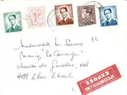 Tricolore / Pas Courant Lettre EXPRES Non Annulée Par Le Bureau De Départ (Voir Explications) - 1953-1972 Glasses