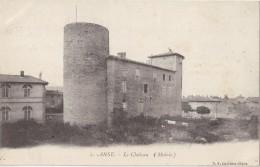 """CPA - ANSE (69) - Le Château (Mairie) - Pub Au Verso """"Marchand & Prat Chalon Sur Saône, Toiles En Tous Genre"""" - Anse"""