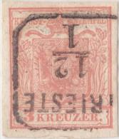 SI53D Austria Italia 3 Kreuzer 1850 Con  Annullo Di TRIESTE - Usati