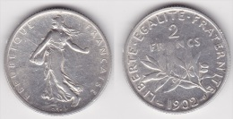 2 FRANCS SEMEUSE  1902 En ARGENT (voir Scan) - Francia
