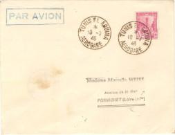 AIR FRANCE 1° Utilisation Cachet Tunis El Aouina Sur Vol Régulier 10/07/46 - First Flight Covers
