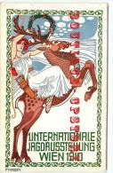 RARE < ILLUSTRATEUR F. KRENN - EXPOSITION WIEN 1910 - TIR à L'ARC < CHASSE Au RENNE - CHASSEUR CHASSEUSE - - Künstlerkarten