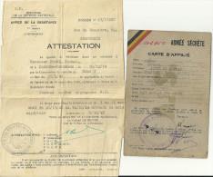 BRUXELLES  MINISTERE DE LA DEFENSE NATIONALE  ATTESTATION Qualité De Résistant Armé..+ Carte D'affilié A L'armee Secrete - Documents Historiques