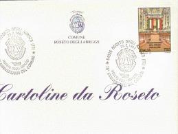 CARTOLINA CON ANNULLO 70° ANNIVERSARIO DEL COMUNE DI ROSETO DEGLI ABRUZZI - CUSTODIA - Feste