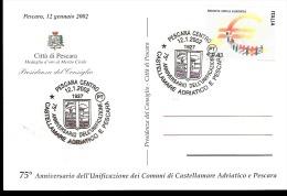 CARTOLINA CON ANNULLO 75 ANNIVERSARIO DELL´ UNIFICAZIONE TRA CASTELLAMARE ADRIATICO E PESCARA - Feste