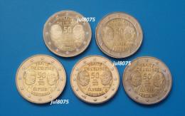 2 Euro Commemorative Allemagne 2013 Traité De L´Elysée Les 5 Ateliers ADFGJ  PIECES NEUVES UNC - Germany