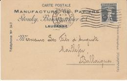 Manufacture Papiers Stouky Baumgartner & Cie, Lausanne 29.11.1918 / Pr Ballaigues - Switzerland
