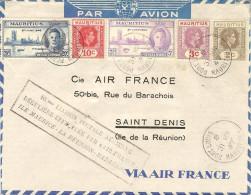 AIR FRANCE 100° Liaison (Madacasgar)-La Réunion-Maurice 31/03/47 - 2 Plis A Et R - Airmail