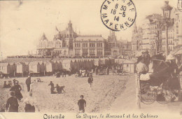 Belgique - Ostende / Oostende - Cabines Bains Roulottes / Poussette Bébé / Cachet 1914 Ostende Mayenne - Oostende
