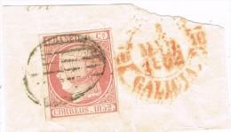 Fragmento Con Sello 6 Cuartos 1852, Parrilla Y Fechadr Baeza De Galicia, Num  º - 1850-68 Reino: Isabel II