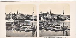 PS2 Photo Collection Stéréoscopique Galactina -N° 21 Lucerne Suisse- Le Quai  -lait Alpes Suisses -NPG 1906 - Photos Stéréoscopiques