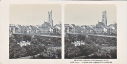 PS12 Photo Collection Stéréoscopique Galactina -N°43 Fribourg Pont Suspendu Cathedrale -lait Alpes Suisses -NPG 1906 - Photos Stéréoscopiques