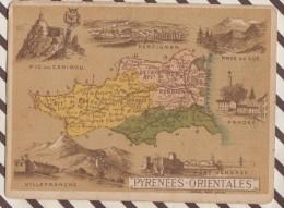4AG1667 CHROMO HACHETTE Géographique + Vues Département PYRENEES ORIENTALES VILLEFRANCHE PRADES - Géographie