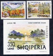ALBANIA 1999  Europa: National Parks Set Of 2 + Block   MNH / **.  Michel 2690-91, Block 118 - Albania