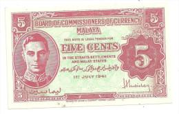 Malaya 5 Cents 1941 AUNC .S. - Malesia