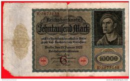 Reichsbanknote 1922 Zehntausend 10.000 Mark G Großformat (pü0520) - [ 3] 1918-1933 : Weimar Republic