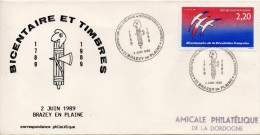 OT Sur Enveloppe : Expo. Bicentenaire De La Révolution 1789-1989 (Brazey En Plaine, Côte D´Or, 21) Du 02-06-1989 - Marcophilie (Lettres)