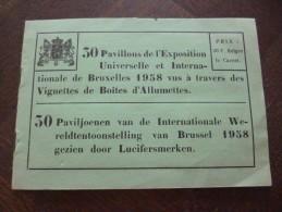 Rare Carnet Avec 30 Vignettes De Boites D'allumettes Vues Des Pavillons De L'exposition Universelle De Bruxelles 1958. - Non Classés
