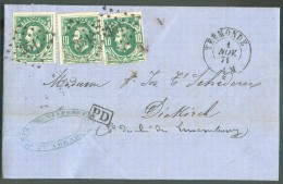 N°30 - 10 Centimes Verts (x3) Obl. LP.351 Sur Lettre De TERMONDE Le 1 Novembre 1871 Vers Diekirch, Via (verso) Luxembour - 1869-1883 Leopoldo II