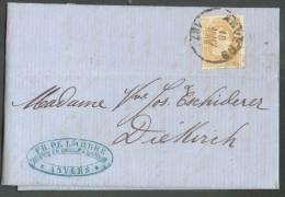 N°31 - 25 Centimes Bistre Obl. Sc ANVERS Sur Lettre Du 18 Janvier 1876 Vers Diekirch,(GD De Luxembourg) Via (verso) Dc - 1869-1883 Leopoldo II