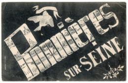 BONNIERES SUR SEINE--1906--Multivues ( Dans Les Lettres De La Ville )--carte Pas Très Courante-cachet MAREIL SUR MAULDRE - Bonnieres Sur Seine