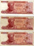 GRECE - LOT DE 3 BILLET DE 100 Drachmai-  APAXMAI EKATON  - 1967 - Grèce