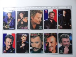RARE : LOT OF 17 DIFFERENT PHONECARDS OF JOHNNY HALLIDAY  LIMITED EDITIONS  250EXP & 350 EXP !!! - Music