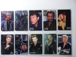 RARE : LOT OF 10 DIFFERENT PHONECARDS OF JOHNNY HALLIDAY  LIMITED EDITIONS  250EXP & 1000 EXP !!! - Music