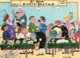 SALON À EVREUX ANNÉE 1987 CARTE SUR LA CARTE HUMORISTIQUE ILLUSTRATEUR FOURÉS - Bourses & Salons De Collections